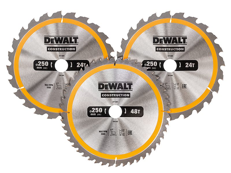 DT1963 Construction Circular Saw Blade 3 Pack 250 x 30mm x 24T/48T