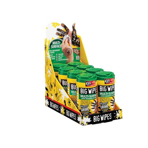 Big Wipes 4x4 Multi-Surface Cleaning Wipes Tub of 80 Counter Top Display