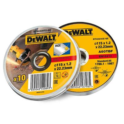 DEWALT Stainless Steel Metal Flat Cutting Discs 115mm Tin of 10