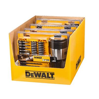 DEWALT 4 x Mixed Drill/Screwdriver Bit Set 26 Piece + Thermal Travel Mug