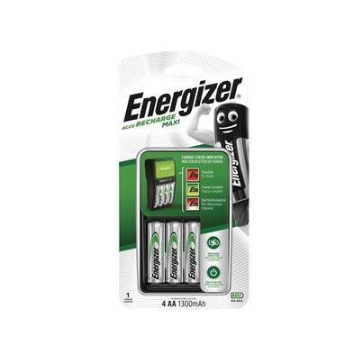Energizer® Compact Charger + 4 x AA 1300 mAh Batteries