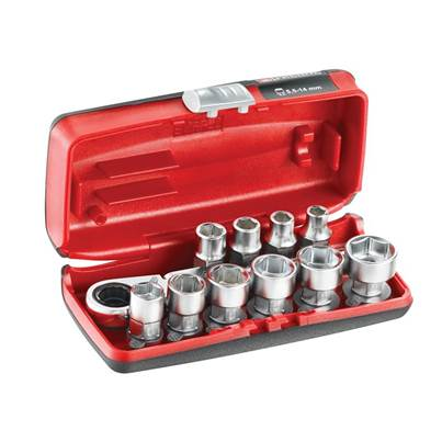 Facom 1/4in 6-Point Hex Metric Socket Set, 11 Piece