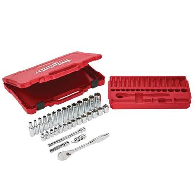 Milwaukee Hand Tools 3/8in Ratcheting Socket Set Metric, 32 Piece