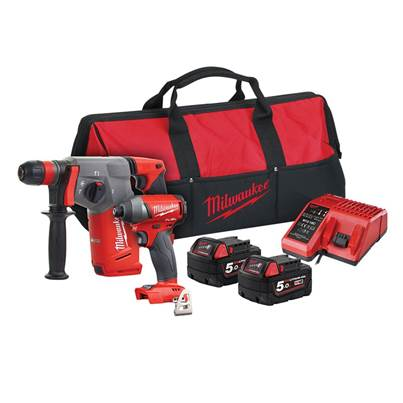 Milwaukee Power Tools M18 FPP2AC-502 FUEL™ Twin Pack 18V 2 x 5.0Ah Li-ion