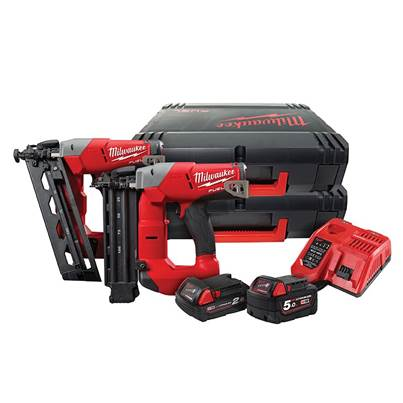 Milwaukee Power Tools M18 FPP2H-522X Nail Gun Twin Pack 18V 1 x 5.0Ah & 1 x 2.0Ah Li-ion