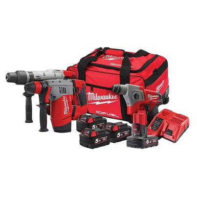 Milwaukee Power Tools M18 FPP3A-564B SDS Triple Kit 3 x 18V 5.0Ah/1 x 12V 6.0Ah Li-ion