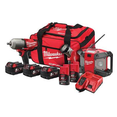 Milwaukee Power Tools M18 FPP3B-525B 3 Piece Kit 18V 3 x 18V 5.0Ah/2 x 12V 2.0Ah Li-ion