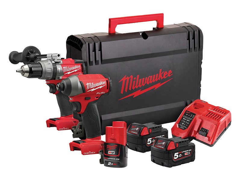 2 x 5.0ah Batteries, Fast Charger, dynacase New Milwaukee M18ONEID-502X M18 One Key Fuel Impact Driver