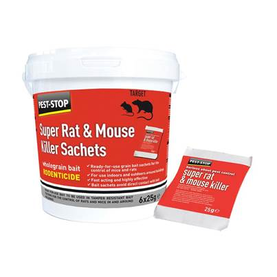 Pest-Stop Systems Super Rat & Mouse Killer Sachets (Tub of 6)