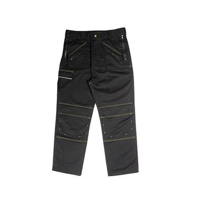 Roughneck Clothing Black Multi Zip Work Trousers