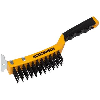 Roughneck Carbon Steel Wire Brush Soft Grip 300mm - 4 Row