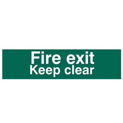 Scan Fire Exit Keep Clear text Only - PVC 200 x 50mm