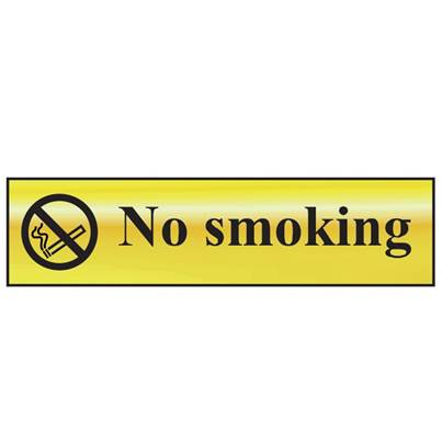 Scan No Smoking - Polished Brass Effect 200 x 50mm