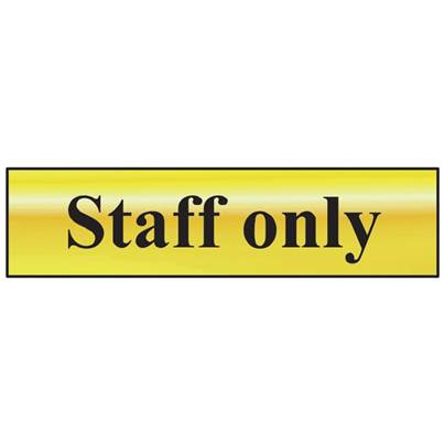Scan Staff Only - Polished Brass Effect 200 x 50mm