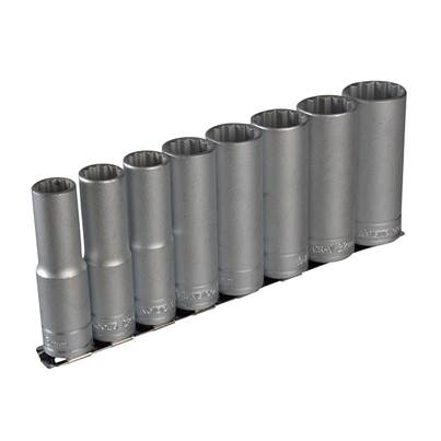 Teng M1207 Socket Clip Rail Set of 8 Metric 1/2in Drive